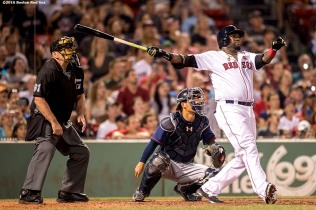 BOSTON, MA - JULY 21: David Ortiz #34 of the Boston Red Sox hits a two run home run during the eighth inning of a game against the Minnesota Twins on July 21, 2016 at Fenway Park in Boston, Massachusetts. (Photo by Billie Weiss/Boston Red Sox/Getty Images) *** Local Caption *** David Ortiz