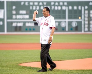 BOSTON, MA - JULY 21: Hall of Famer Rod Carew throws out the ceremonial first pitch before a game between the Boston Red Sox and the Minnesota Twins on July 21, 2016 at Fenway Park in Boston, Massachusetts. (Photo by Billie Weiss/Boston Red Sox/Getty Images) *** Local Caption *** Rod Carew