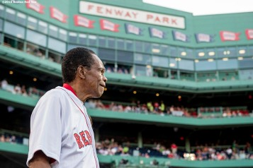BOSTON, MA - JULY 21: Hall of Famer Rod Carew is introduced before throwing out the ceremonial first pitch before a game between the Boston Red Sox and the Minnesota Twins on July 21, 2016 at Fenway Park in Boston, Massachusetts. (Photo by Billie Weiss/Boston Red Sox/Getty Images) *** Local Caption *** Rod Carew