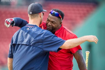 BOSTON, MA - JULY 23: David Ortiz #34 of the Boston Red Sox hugs Joe Mauer #7 of the Minnesota Twins before a game on July 23, 2016 at Fenway Park in Boston, Massachusetts. (Photo by Billie Weiss/Boston Red Sox/Getty Images) *** Local Caption *** David Ortiz; Joe Mauer