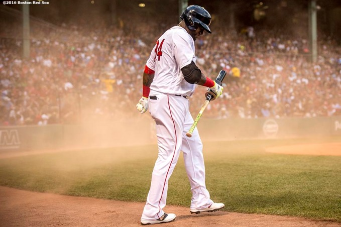 BOSTON, MA - JULY 23: David Ortiz #34 of the Boston Red Sox reacts as wind blows dust on the field during the first inning of a game against the Minnesota Twins on July 23, 2016 at Fenway Park in Boston, Massachusetts. (Photo by Billie Weiss/Boston Red Sox/Getty Images) *** Local Caption *** David Ortiz