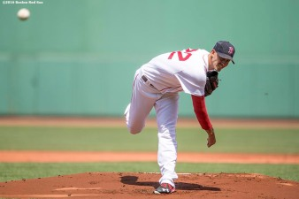 BOSTON, MA - JULY 24: Rick Porcello #11 of the Boston Red Sox delivers during the first inning of a game against the Minnesota Twins on July 24, 2016 at Fenway Park in Boston, Massachusetts. (Photo by Billie Weiss/Boston Red Sox/Getty Images) *** Local Caption *** Rick Porcello