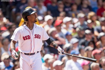 BOSTON, MA - JULY 24: Hanley Ramirez #13 of the Boston Red Sox hits a three run home run during the third inning of a game against the Minnesota Twins on July 24, 2016 at Fenway Park in Boston, Massachusetts. (Photo by Billie Weiss/Boston Red Sox/Getty Images) *** Local Caption *** Hanley Ramirez