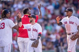 BOSTON, MA - JULY 24: Hanley Ramirez #13, Dustin Pedroia #15, David Ortiz #34, and Xander Bogaerts #2 of the Boston Red Sox celebrate a victory against the Minnesota Twins on July 24, 2016 at Fenway Park in Boston, Massachusetts. (Photo by Billie Weiss/Boston Red Sox/Getty Images) *** Local Caption *** Hanley Ramirez; David Ortiz; Xander Bogaerts; Dustin Pedroia