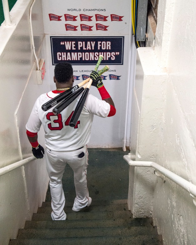 BOSTON, MA - JULY 25: David Ortiz #34 of the Boston Red Sox walks down the stairs from the clubhouse before a game against the Detroit Tigers on July 25, 2016 at Fenway Park in Boston, Massachusetts. (Photo by Billie Weiss/Boston Red Sox/Getty Images) *** Local Caption *** David Ortiz
