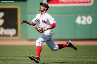 BOSTON, MA - JULY 27: Mookie Betts #50 of the Boston Red Sox runs to catch a fly ball during the fourth inning of a game against the Detroit Tigers on July 27, 2016 at Fenway Park in Boston, Massachusetts. (Photo by Billie Weiss/Boston Red Sox/Getty Images) *** Local Caption *** Mookie Betts