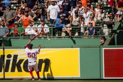 BOSTON, MA - JULY 27: Mookie Betts #50 of the Boston Red Sox watches as a home run ball hit by Miguel Cabrera #24 of the Detroit Tigers goes over the wall during the ninth inning of a game on July 27, 2016 at Fenway Park in Boston, Massachusetts. (Photo by Billie Weiss/Boston Red Sox/Getty Images) *** Local Caption ***