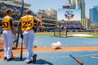 July 12, 2016, San Diego, CA: Boston Red Sox right fielder Mookie Betts and center fielder Jackie Bradley Jr. look on as they take batting practice during the 2016 Major League Baseball All-Star Game at PETCO Park in San Diego, California Tuesday, July 12, 2016. (Photos by Billie Weiss/Boston Red Sox)