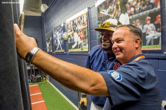 July 12, 2016, San Diego, CA: Boston Red Sox designated hitter David Ortiz poses for a selfie photograph with San Diego Padres play by play announcer and former NESN broadcaster, Don Orsillo, during the 2016 Major League Baseball All-Star Game at PETCO Park in San Diego, California Tuesday, July 12, 2016. (Photos by Billie Weiss/Boston Red Sox)
