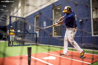 July 12, 2016, San Diego, CA: Boston Red Sox designated hitter David Ortiz takes batting practice in the batting cage during the 2016 Major League Baseball All-Star Game at PETCO Park in San Diego, California Tuesday, July 12, 2016. (Photos by Billie Weiss/Boston Red Sox)