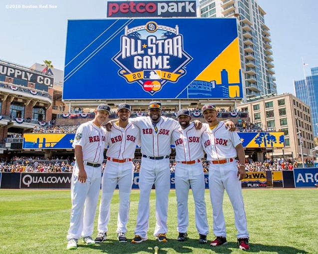 July 12, 2016, San Diego, CA: Boston Red Sox pitcher Steven Wright, shortstop Xander Bogaerts, designated hitter David Ortiz, center fielder Jackie Bradley Jr., and right fielder Mookie Betts pose for a group photograph during the 2016 Major League Baseball All-Star Game at PETCO Park in San Diego, California Tuesday, July 12, 2016. (Photos by Billie Weiss/Boston Red Sox)