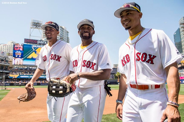 July 12, 2016, San Diego, CA: Boston Red Sox shortstop Xander Bogaerts, center fielder Jackie Bradley Jr., and right fielder Mookie Betts react as they walk toward the dugout during the 2016 Major League Baseball All-Star Game at PETCO Park in San Diego, California Tuesday, July 12, 2016. (Photos by Billie Weiss/Boston Red Sox)