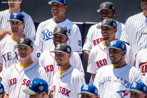 July 12, 2016, San Diego, CA: Boston Red Sox pitcher Steven Wright, shortstop Xander Bogaerts, designated hitter David Ortiz, center fielder Jackie Bradley Jr., and right fielder Mookie Betts react as they pose for the official American League team photograph during the 2016 Major League Baseball All-Star Game at PETCO Park in San Diego, California Tuesday, July 12, 2016. (Photos by Billie Weiss/Boston Red Sox)