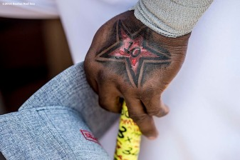 July 12, 2016, San Diego, CA: A tattoo of Boston Red Sox designated hitter David Ortiz is shown during the 2016 Major League Baseball All-Star Game at PETCO Park in San Diego, California Tuesday, July 12, 2016. (Photos by Billie Weiss/Boston Red Sox)