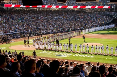 July 12, 2016, San Diego, CA: Starting lineups are introduced during the 2016 Major League Baseball All-Star Game at PETCO Park in San Diego, California Tuesday, July 12, 2016. (Photos by Billie Weiss/Boston Red Sox)