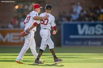 July 12, 2016, San Diego, CA: Los Angeles Angels of Anaheim Center Fielder Mike Trout reacts with Boston Red Sox right fielder Mookie Betts during the third inning of the 2016 Major League Baseball All-Star Game at PETCO Park in San Diego, California Tuesday, July 12, 2016. (Photos by Billie Weiss/Boston Red Sox)