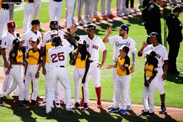 July 12, 2016, San Diego, CA: Boston Red Sox center fielder Jackie Bradley Jr., high fives designated hitter David Ortiz and shortstop Xander Bogaerts as he is introduced during the 2016 Major League Baseball All-Star Game at PETCO Park in San Diego, California Tuesday, July 12, 2016. (Photos by Billie Weiss/Boston Red Sox)
