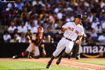 July 12, 2016, San Diego, CA: Boston Red Sox right fielder Mookie Betts rounds first base after hitting a single during the first inning of the 2016 Major League Baseball All-Star Game at PETCO Park in San Diego, California Tuesday, July 12, 2016. (Photos by Billie Weiss/Boston Red Sox)