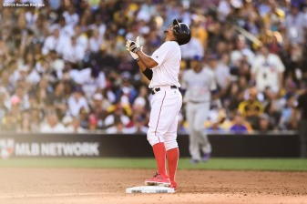 July 12, 2016, San Diego, CA: Boston Red Sox shortstop Xander Bogaerts reacts after hitting a double during the third inning of the 2016 Major League Baseball All-Star Game at PETCO Park in San Diego, California Tuesday, July 12, 2016. (Photos by Billie Weiss/Boston Red Sox)