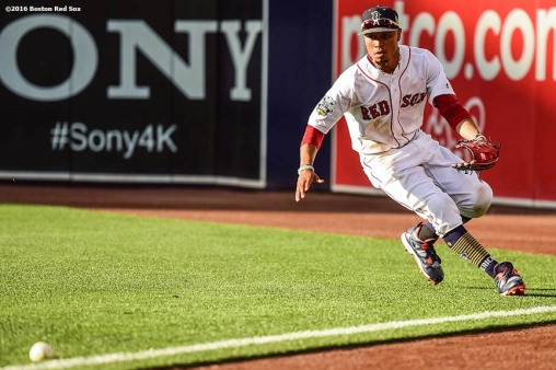 July 12, 2016, San Diego, CA: Boston Red Sox right fielder Mookie Betts fields a ground ball during the fourth inning of the 2016 Major League Baseball All-Star Game at PETCO Park in San Diego, California Tuesday, July 12, 2016. (Photos by Billie Weiss/Boston Red Sox)