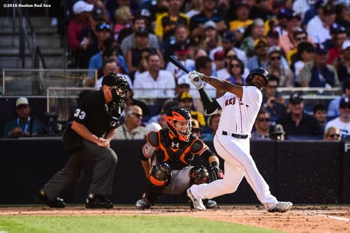 July 12, 2016, San Diego, CA: Boston Red Sox center fielder Jackie Bradley Jr. hits a single during the third inning of the 2016 Major League Baseball All-Star Game at PETCO Park in San Diego, California Tuesday, July 12, 2016. (Photos by Billie Weiss/Boston Red Sox)