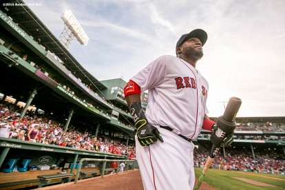 BOSTON, MA - AUGUST 9: David Ortiz #34 of the Boston Red Sox runs onto the field before a game against the New York Yankees on August 9, 2016 at Fenway Park in Boston, Massachusetts. (Photo by Billie Weiss/Boston Red Sox/Getty Images) *** Local Caption *** David Ortiz