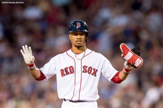 BOSTON, MA - AUGUST 9: Mookie Betts #50 of the Boston Red Sox reacts after hitting a double during the third inning of a game against the New York Yankees on August 9, 2016 at Fenway Park in Boston, Massachusetts. (Photo by Billie Weiss/Boston Red Sox/Getty Images) *** Local Caption *** Mookie Betts