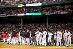 BOSTON, MA - AUGUST 9: Benches clear after Rick Porcello #22 of the Boston Red Sox exchanged words with Chase Headley #12 of the New York Yankees after he was tagged out at third base during the seventh inning of a game on August 9, 2016 at Fenway Park in Boston, Massachusetts. (Photo by Billie Weiss/Boston Red Sox/Getty Images) *** Local Caption *** Chase Headley; Rick Porcello