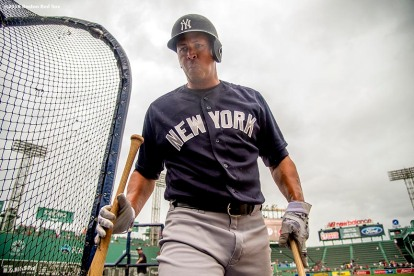 BOSTON, MA - AUGUST 10: Alex Rodriguez #13 of the New York Yankees puts down his bats as he takes batting practice before a game against the Boston Red Sox on August 10, 2016 at Fenway Park in Boston, Massachusetts. (Photo by Billie Weiss/Boston Red Sox/Getty Images) *** Local Caption *** Alex Rodriguez