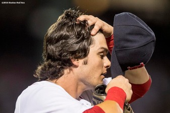 BOSTON, MA - AUGUST 10: Andrew Benintendi #40 of the Boston Red Sox reacts during the fourth inning of a game against the New York Yankees on August 10, 2016 at Fenway Park in Boston, Massachusetts. (Photo by Billie Weiss/Boston Red Sox/Getty Images) *** Local Caption *** Andrew Benintendi