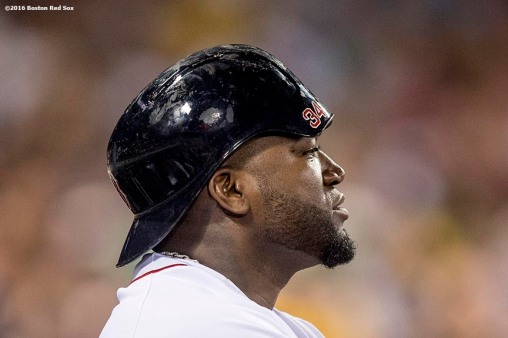 BOSTON, MA - AUGUST 10: David Ortiz #34 of the Boston Red Sox wears his helmet backwards during the sixth inning of a game against the New York Yankees on August 10, 2016 at Fenway Park in Boston, Massachusetts. (Photo by Billie Weiss/Boston Red Sox/Getty Images) *** Local Caption *** David Ortiz