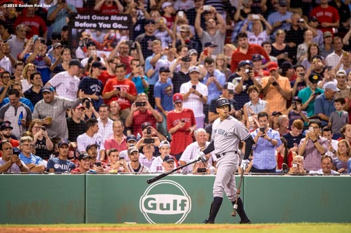 BOSTON, MA - AUGUST 10: Alex Rodriguez #13 of the New York Yankees warms up on deck before a pinch-hit appearance during the seventh inning of a game against the New York Yankees on August 10, 2016 at Fenway Park in Boston, Massachusetts. (Photo by Billie Weiss/Boston Red Sox/Getty Images) *** Local Caption *** Alex Rodriguez