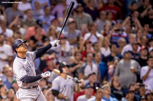BOSTON, MA - AUGUST 10: Alex Rodriguez #13 of the New York Yankees flies out during a pinch-hit appearance during the seventh inning of a game against the New York Yankees on August 10, 2016 at Fenway Park in Boston, Massachusetts. (Photo by Billie Weiss/Boston Red Sox/Getty Images) *** Local Caption *** Alex Rodriguez