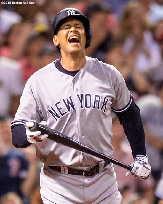 BOSTON, MA - AUGUST 10: Alex Rodriguez #13 of the New York Yankees reacts as he flies out during a pinch-hit appearance during the seventh inning of a game against the New York Yankees on August 10, 2016 at Fenway Park in Boston, Massachusetts. (Photo by Billie Weiss/Boston Red Sox/Getty Images) *** Local Caption *** Alex Rodriguez
