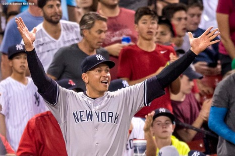 BOSTON, MA - AUGUST 10: Alex Rodriguez #13 of the New York Yankees reacts from the dugout as the Yankees score a run during the seventh inning of a game against the Boston Red Sox on August 10, 2016 at Fenway Park in Boston, Massachusetts. (Photo by Billie Weiss/Boston Red Sox/Getty Images) *** Local Caption *** Alex Rodriguez