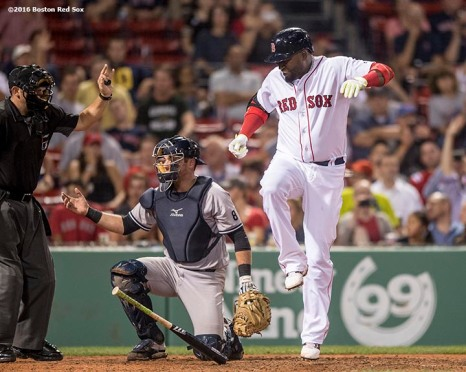 BOSTON, MA - AUGUST 10: David Ortiz #34 of the Boston Red Sox reacts after hitting a foul ball off his foot, forcing him to leave the game, during the ninth inning of a game against the New York Yankees on August 10, 2016 at Fenway Park in Boston, Massachusetts. (Photo by Billie Weiss/Boston Red Sox/Getty Images) *** Local Caption *** David Ortiz