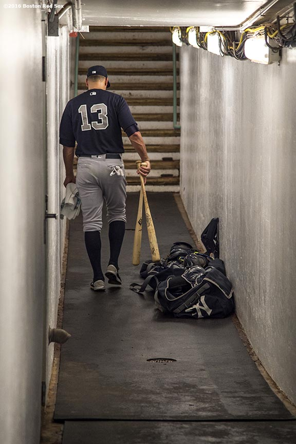 BOSTON, MA - AUGUST 11: Alex Rodriguez #13 of the New York Yankees walks through the tunnel before a game against the Boston Red Sox on August 11, 2016 at Fenway Park in Boston, Massachusetts.(Photo by Billie Weiss/Boston Red Sox/Getty Images) *** Local Caption *** Alex Rodriguez