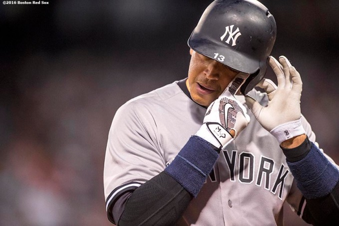 BOSTON, MA - AUGUST 11: Alex Rodriguez #13 of the New York Yankees reacts during the fourth inning of a game against the Boston Red Sox on August 11, 2016 at Fenway Park in Boston, Massachusetts.(Photo by Billie Weiss/Boston Red Sox/Getty Images) *** Local Caption *** Alex Rodriguez