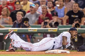 BOSTON, MA - AUGUST 11: Hanley Ramirez #13 of the Boston Red Sox reacts after being hit by a base runner during the seventh inning of a game against the New York Yankees on August 11, 2016 at Fenway Park in Boston, Massachusetts. (Photo by Billie Weiss/Boston Red Sox/Getty Images) *** Local Caption *** Hanley Ramirez