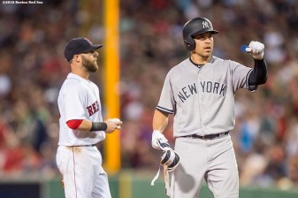 BOSTON, MA - AUGUST 11: Jacoby Ellsbury #22 of the New York Yankees reacts after hitting an RBI double during the eighth inning of a game against the Boston Red Sox on August 11, 2016 at Fenway Park in Boston, Massachusetts. (Photo by Billie Weiss/Boston Red Sox/Getty Images) *** Local Caption *** Jacoby Ellsbury