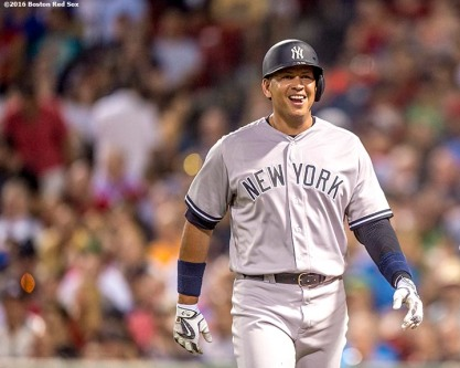 BOSTON, MA - AUGUST 11: Alex Rodriguez #13 of the New York Yankees reacts after hitting an RBI ground out during the eighth inning of a game against the Boston Red Sox on August 11, 2016 at Fenway Park in Boston, Massachusetts.(Photo by Billie Weiss/Boston Red Sox/Getty Images) *** Local Caption *** Alex Rodriguez