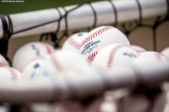 BOSTON, MA - AUGUST 12: Baseballs are shown before a game between the Boston Red Sox and the Arizona Diamondbacks on August 12, 2016 at Fenway Park in Boston, Massachusetts. (Photo by Billie Weiss/Boston Red Sox/Getty Images) *** Local Caption ***