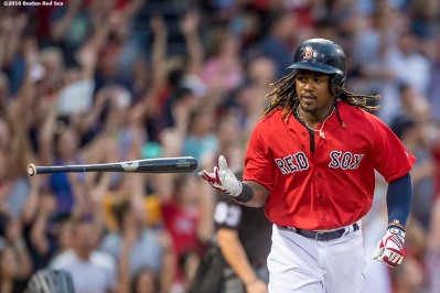 BOSTON, MA - AUGUST 12: Hanley Ramirez #13 of the Boston Red Sox tosses his bat after hitting a three run home run during the first inning of a game against the Arizona Diamondbacks on August 12, 2016 at Fenway Park in Boston, Massachusetts. (Photo by Billie Weiss/Boston Red Sox/Getty Images) *** Local Caption *** Hanley Ramirez