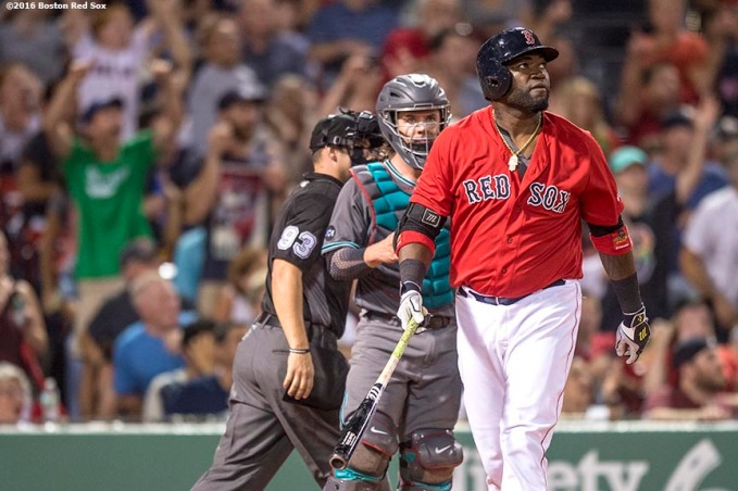 BOSTON, MA - AUGUST 12: David Ortiz #34 of the Boston Red Sox hits a home run during the seventh inning of a game against the Arizona Diamondbacks on August 12, 2016 at Fenway Park in Boston, Massachusetts. (Photo by Billie Weiss/Boston Red Sox/Getty Images) *** Local Caption *** David Ortiz