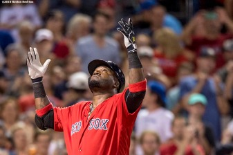 BOSTON, MA - AUGUST 12: David Ortiz #34 of the Boston Red Sox reacts after hitting a home run during the seventh inning of a game against the Arizona Diamondbacks on August 12, 2016 at Fenway Park in Boston, Massachusetts. (Photo by Billie Weiss/Boston Red Sox/Getty Images) *** Local Caption *** David Ortiz
