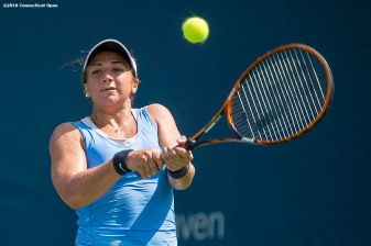August 19, 2016, New Haven, Connecticut: Julia Elbaba of the United States in action during a qualifying match on Day 1 of the 2016 Connecticut Open at the Yale University Tennis Center on Friday, August 19, 2016 in New Haven, Connecticut. (Photo by Billie Weiss/Connecticut Open)
