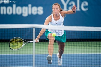 August 20, 2016, New Haven, Connecticut: Annika Beck of Germany in action during a qualifying match on Day 2 of the 2016 Connecticut Open at the Yale University Tennis Center on Saturday, August 20, 2016 in New Haven, Connecticut. (Photo by Billie Weiss/Connecticut Open)