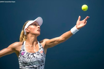 August 20, 2016, New Haven, Connecticut: Lesia Tsurenko of Ukraine in action during a qualifying match on Day 2 of the 2016 Connecticut Open at the Yale University Tennis Center on Saturday, August 20, 2016 in New Haven, Connecticut. (Photo by Billie Weiss/Connecticut Open)