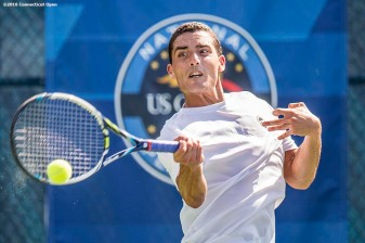 August 20, 2016, New Haven, Connecticut: Cameron Silverman in action during a US Open National Playoffs match at the 2016 Connecticut Open at the Yale University Tennis Center on Saturday, August 20, 2016 in New Haven, Connecticut. (Photo by Billie Weiss/Connecticut Open)