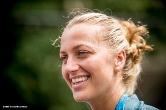 August 21, 2016, New Haven, Connecticut: Petra Kvitova of the Czech Republic reacts as she is interviewed during WTA All-Access Hour on Day 3 of the 2016 Connecticut Open at the Yale University Tennis Center on Sunday, August 21, 2016 in New Haven, Connecticut. (Photo by Billie Weiss/Connecticut Open)